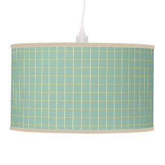 Summer Garden Lattice Stripes on Blue Pendant Lamp