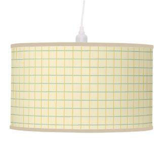 Summer Garden Lattice Stripes on Cream Pendant Lamp