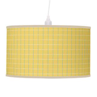 Summer Garden Lattice Stripes on Yellow Pendant Lamp