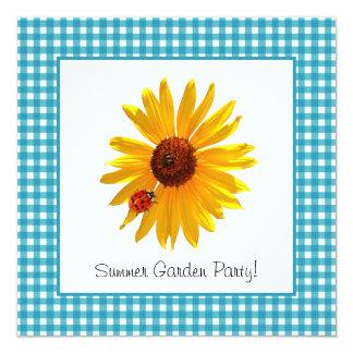 "Summer Garden Party Sunflower Picnic 5.25"" Square Invitation Card"