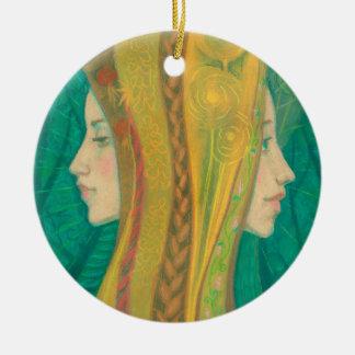 Summer, girls, fantasy art, forest, green & yellow ceramic ornament