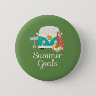 Summer Goals Beach Camper Van Button