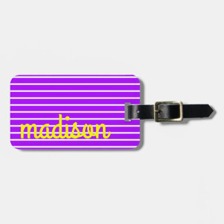 Summer grape and Sunshine With White Stripes Luggage Tag