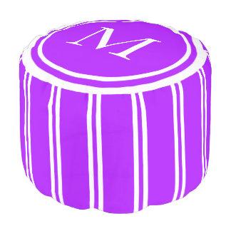 Summer Grape and White Double Stripe Monogram Pouf