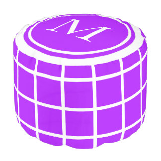 Summer Grape and White Lattice Monogram Pouf