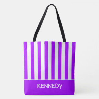 Summer Grape and White Stripe Personalized Tote Bag