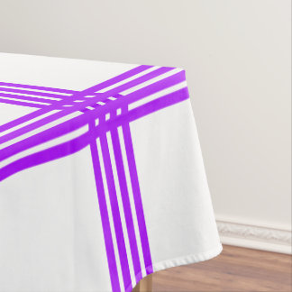 Summer Grape Four Stripe Plaid on White Tablecloth