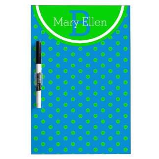 Summer Green and Blue Polka Dot Monogram Dry Erase Board
