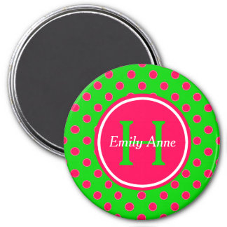 Summer Green and Pink Polka Dot Monogram Magnet