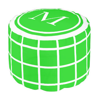 Summer Green and White Lattice Monogram Pouf