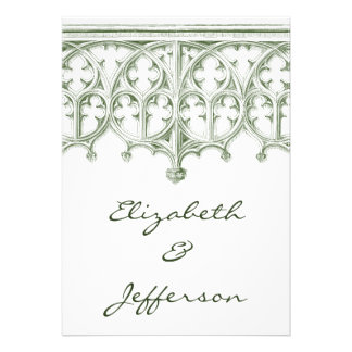 Summer Green Cathedral Wedding Invitations