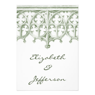 Summer Green Cathedral Wedding RSVP Personalized Announcements