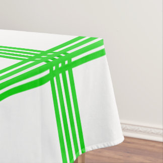 Summer Green Four Stripe Plaid on White Tablecloth