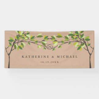 Summer Green Knotted Love Trees Wedding Banner