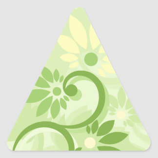 Summer Green Leaf and Flowers Triangle Stickers