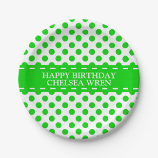 Summer Green Polka Dots on White Personalized Paper Plate
