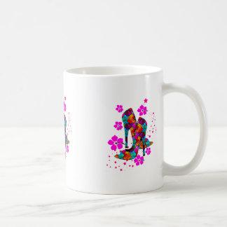 Summer High Heel Shoes Hot Pink Flowers Classic White Coffee Mug