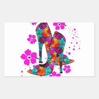 Summer High Heel Shoes Hot Pink Flowers