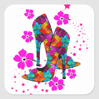 Summer High Heel Shoes Hot Pink Flowers Square Sticker