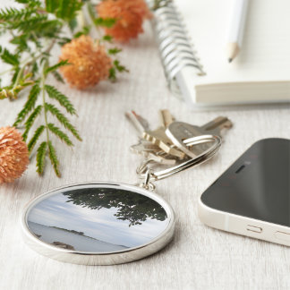 Summer Holiday Mediterranean Sea Photography Silver-Colored Round Keychain
