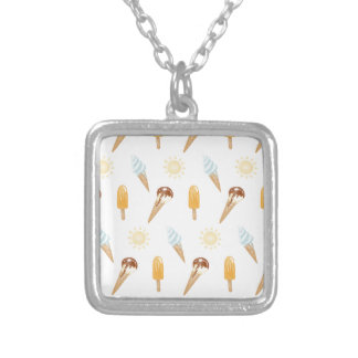 Summer ice cream silver plated necklace