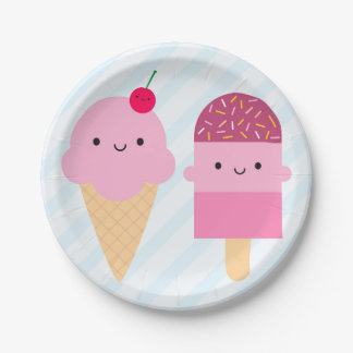 Summer Ice Cream Treats Paper Plate