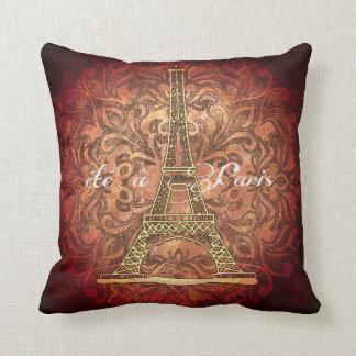 Summer in Paris red throw pillow