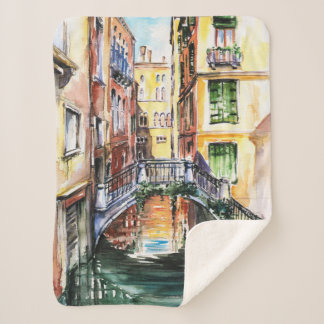 Summer in Venice Small Sherpa Fleece Blanket