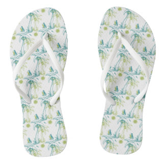 Summer Island Paradise Beach Palm Tree Green White Flip Flops