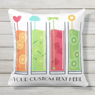Summer Juices custom text throw pillows