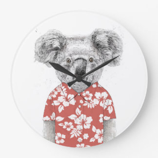 Summer koala (red) large clock