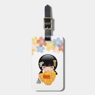 Summer Kokeshi Doll - Yellow Kimono Geisha Girl Luggage Tag