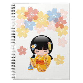 Summer Kokeshi Doll - Yellow Kimono Geisha Girl Notebook