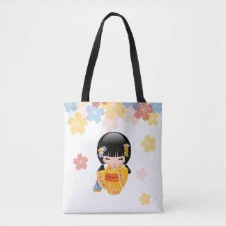 Summer Kokeshi Doll - Yellow Kimono Geisha Girl Tote Bag