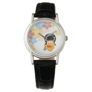 Summer Kokeshi Doll - Yellow Kimono Geisha Girl Wrist Watch