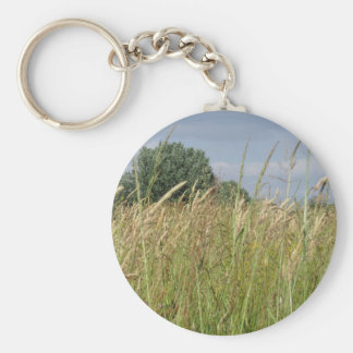 Summer landscape of wild field in the countryside keychain