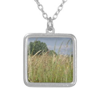 Summer landscape of wild field in the countryside silver plated necklace