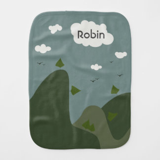 Summer landscape personalized baby burp cloths