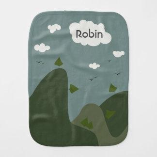 Summer landscape personalized burp cloth