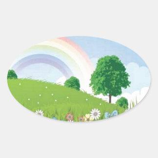 summer-landscape-vector oval sticker