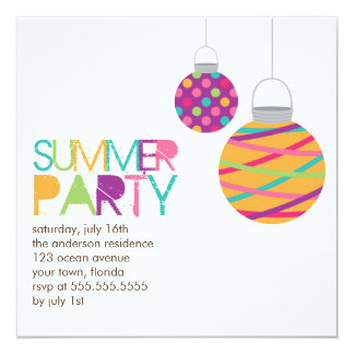 "Summer Lanterns Party Invitations 5.25"" Square Invitation Card"