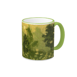 Summer lawn, wool painting, landscape green shades ringer coffee mug