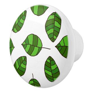Summer Leaves Green Leaf Pattern on any Color Ceramic Knob