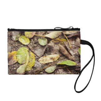 Summer leaves under the raindrops coin purses