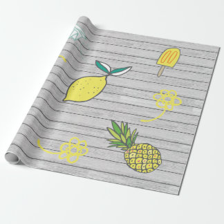 Summer Lemon Yellow Boardwalk Wrapping Paper