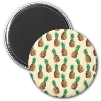 Summer Light Beige Pineapple Pattern 2 Inch Round Magnet