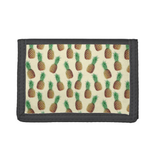 Summer Light Beige Pineapple Pattern Tri-fold Wallet