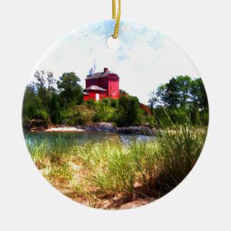 Summer Lighthouse Ceramic Ornament