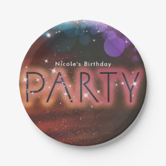 Summer Lights Sparkle Dance Club Birthday Party Paper Plate