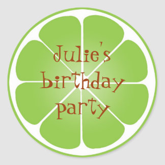 Summer lime green citrus party favor seal stickers